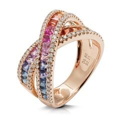 anillo diseño de oro rosa 18 Kt con diamantes y zafiros (AN500130)