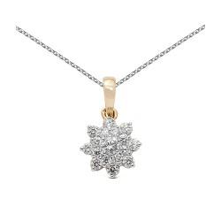 Colgante roseton de oro combinado 18Kt con diamantes (CO11431)