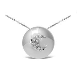 Colgante diseño de oro blanco 18Kt con diamantes (CO12026)