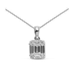 Colgante diseño de oro 18 Kt con diamantes - baguettes (CO12187)