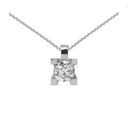 Colgante grapas de oro blanco 18Kt con diamante (CO12358)