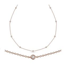 Collar de oro rosa 18Kt con diamantes (CO20234)