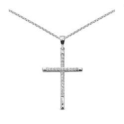 Cruz de oro blanco 18Kt con diamantes (CRU300056)
