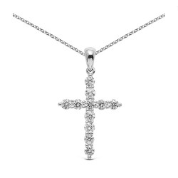 Cruz de oro blanco 18kt con diamantes (CRU300077)