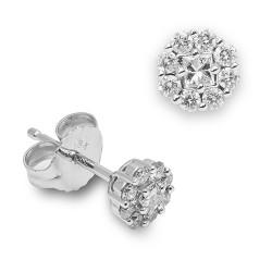 Pendientes diseño de oro blanco 18 Kt con diamantes (EAR000001)