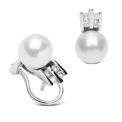 Tu y yo de oro blanco 18 Kt con diamantes y perlas japonesas (PE110487)