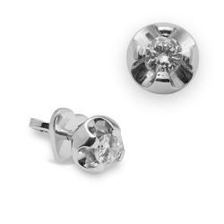 Dormilonas de oro blanco 18Kt con diamantes (PE123010)
