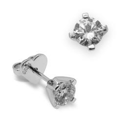 Dormilonas de oro blanco 18Kt con diamantes (PE123039)