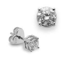 Dormilonas de oro blanco 18Kt con diamantes (PE123172)