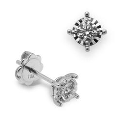 Dormilonas de oro blanco 18Kt con diamantes (PE123178)
