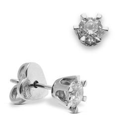 Dormilonas de oro blanco 18Kt con diamantes (PE123865)