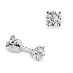 Dormilonas de oro blanco 18 Kt con diamantes (PE123983)