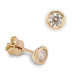 Dormilonas de oro amarillo 18 Kt con diamantes (PE1300540)