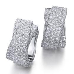 Pendientes diseño de oro blanco 18Kt con diamantes (PE1400201)