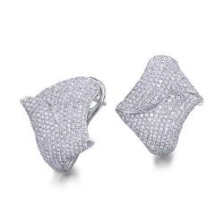 Pendientes diseño de oro blanco 18Kt con diamantes (PE1400792)