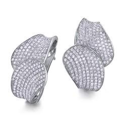 Pendientes diseño de oro blanco 18Kt con diamantes (PE1400794)