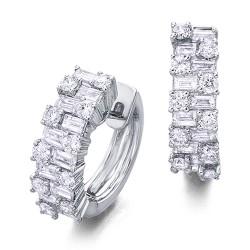 Pendientes diseño de oro blanco 18Kt con diamantes (PE1401959)