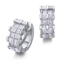 Pendientes diseño de oro blanco 18Kt con diamantes (PE1402089)