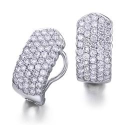 Pendientes diseño de oro blanco 18 Kt con diamantes (PE142755)
