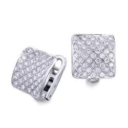 Pendientes diseño de oro blanco 18Kt con diamantes (PE146928)