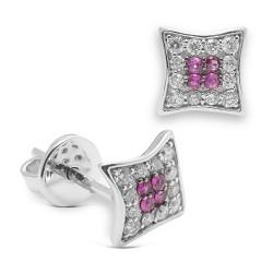 Pendientes diseño de oro blanco 18Kt con diamantes (PE147118)