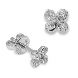 Pendientes diseño de oro blanco 18 Kt con diamantes (PE147152)
