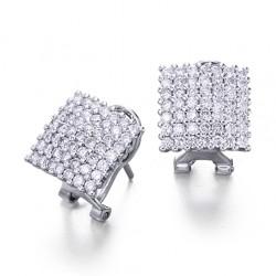 Pendientes diseño de oro blanco 18Kt con diamantes (PE147189)