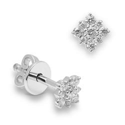 Pendientes diseño de oro blanco 18 Kt con diamantes (PE147219)