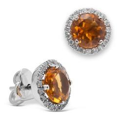 Pendientes diseño de oro blanco 18Kt con diamantes (PE147277)