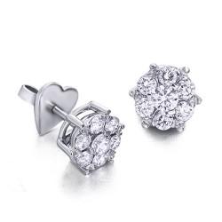 Rosetones de oro blanco 18Kt con diamantes (PE1484464)