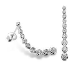 Pendientes diseño de oro blanco 18Kt con diamantes (PE1484468)