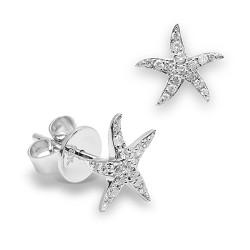 Pendientes diseño de oro blanco 18 Kt con diamantes (PE1484596)
