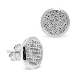 Pendientes diseño de oro blanco 18 Kt con diamantes (PE148551)