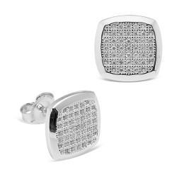 Pendientes diseño de oro blanco 18 Kt con diamantes (PE148553)