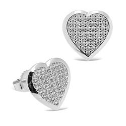 Pendientes diseño de oro blanco 18 Kt con diamantes (PE148554)