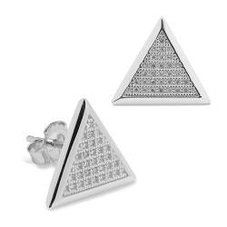Pendientes diseño de oro blanco 18 Kt con diamantes (PE148555)