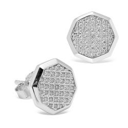 Pendientes diseño de oro blanco 18 Kt con diamantes (PE148556)