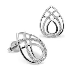 Pendientes diseño de oro blanco 18 Kt con diamantes (PE148567)