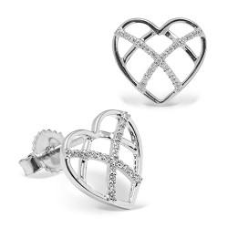 Pendientes diseño de oro blanco 18 Kt con diamantes (PE148568)