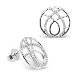 Pendientes diseño de oro blanco 18 Kt con diamantes (PE148569)