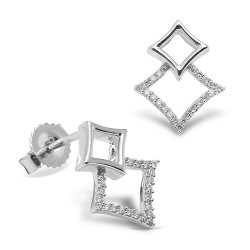 Pendientes diseño de oro blanco 18 Kt con diamantes (PE148570)