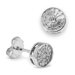 Pendientes diseño de oro blanco 18 Kt con diamantes (PE148577)