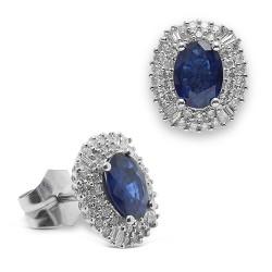 rosetones de oro blanco 18Kt con diamantes (PE148596)