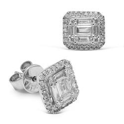 Pendientes diseño de oro blanco 18 Kt con diamantes (PE148619)
