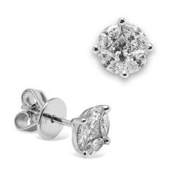 Pendientes diseño de oro blanco 18 Kt con diamantes (PE148620)