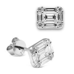 Pendientes diseño de oro blanco 18 Kt con diamantes (PE148625)