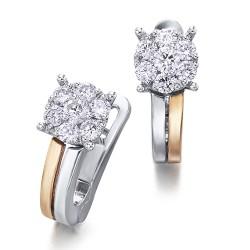 Pendientes diseño oro combinado 18Kt con diamantes (PE3400692)
