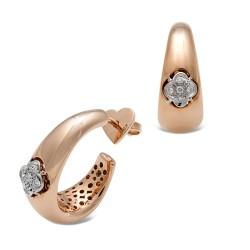 Pendientes diseño oro combinado 18Kt con diamantes (PE600053)