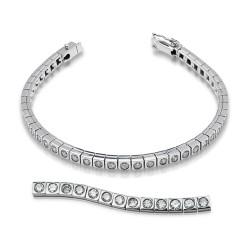 Rivier bocas de oro blanco 18 Kt con diamantes (PU110474)