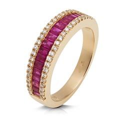 Anillo diseño de oro rosa 18 Kt con diamantes (AN246648)